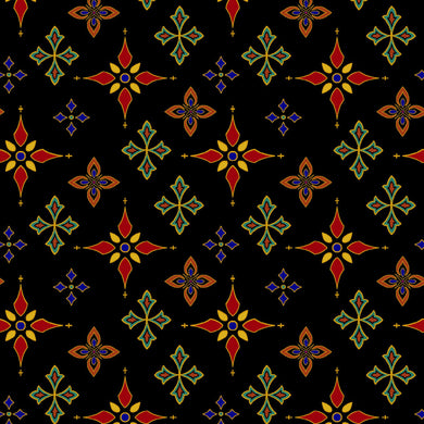 Silent Night Star Foulard Black Gold Metallic Cotton Fabric