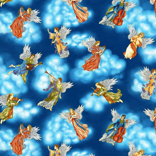 Silent Night Angels Gold Metallic Cotton Fabric