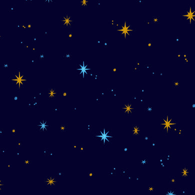 Silent Night Starry Night Christmas Gold Metallic Cotton Fabric