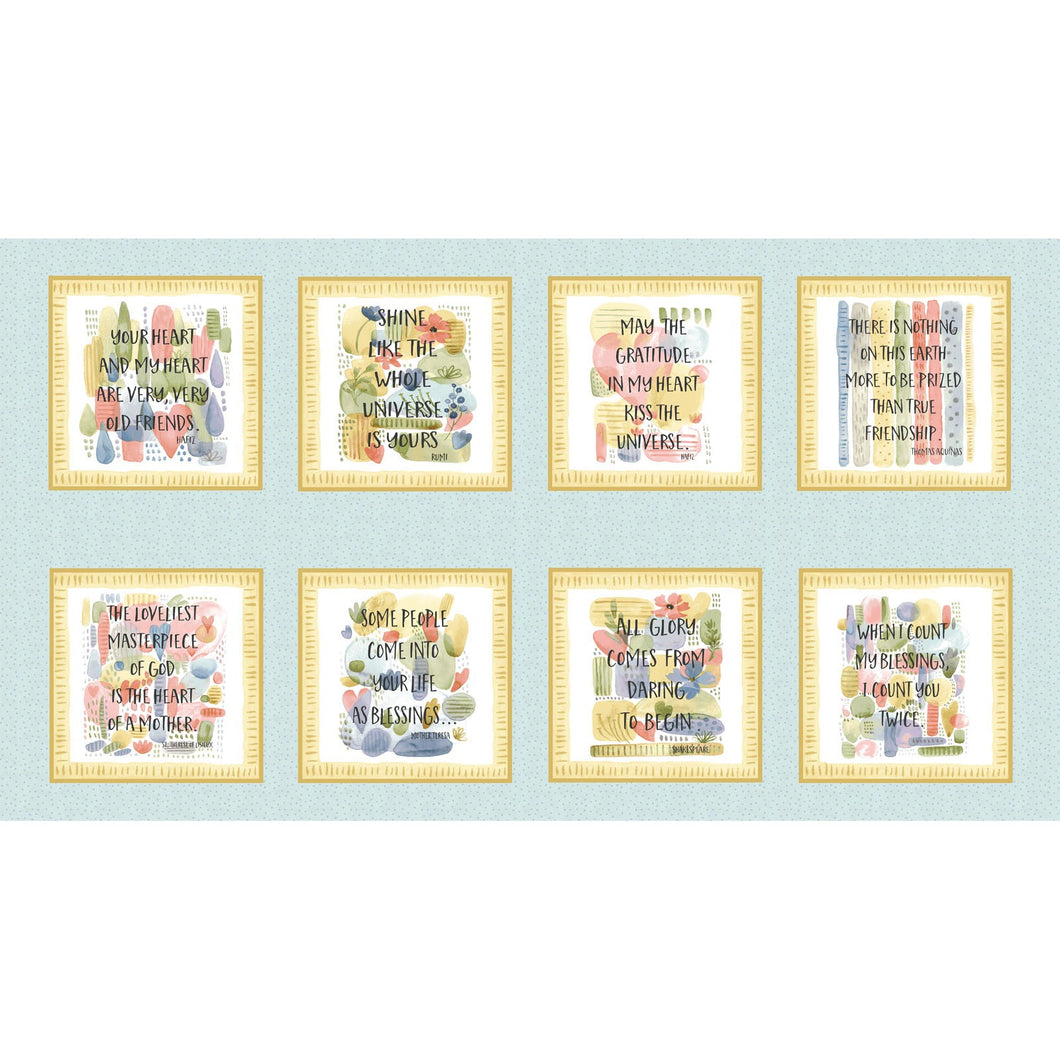 Blessings Inspiration Blocks Cotton Fabric Panel