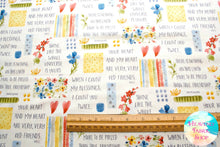Blessings Flowers & Sayings Cotton Fabric