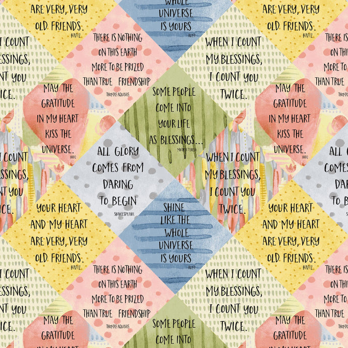 Blessings Sayings Cotton Fabric