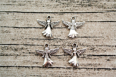 Antique Silver Metal Angel Charms 30 ct