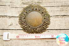 Vintage Style Antique Bronze Flower Cabochon Medallion Settings 6 ct set