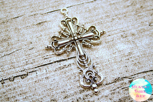 Large Vintage Style Antique Silver Cross Pendants Set of 2