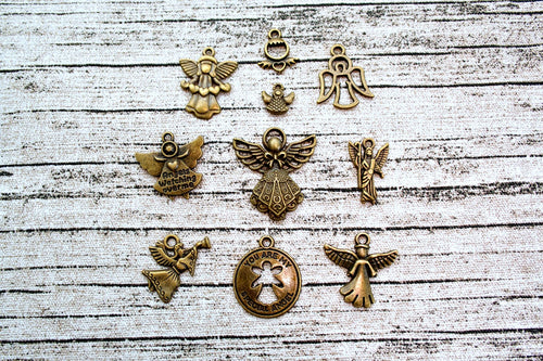 Assorted Antique Bronze Metal Angel Charms 10 ct