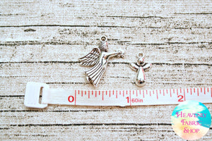 Assorted Antique Silver Metal Angel Charms 5 ct