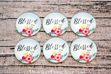 Blessed Floral Glass Dome Cabochons 6ct
