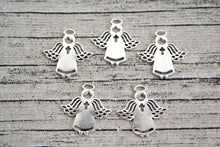 Silver Metal Cross Angel Flatback Charms 30 ct