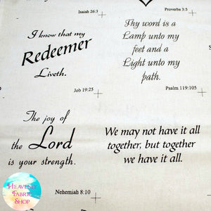 Anything Inspirational Patchwork Religious Text Cotton Fabric Panel - MORE COMING SOON!