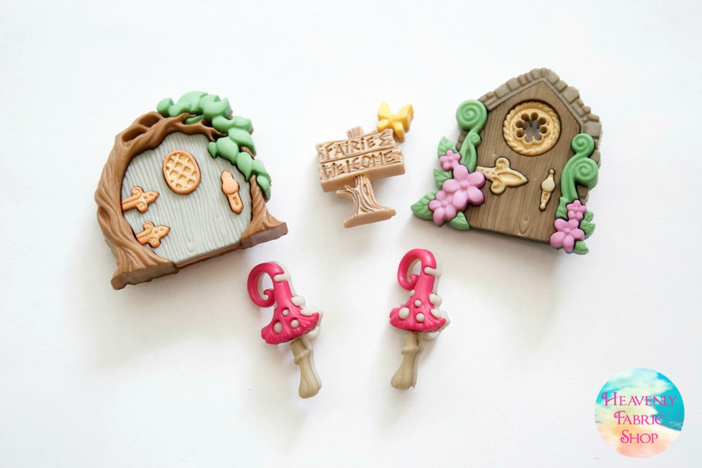Fairies Welcome Fairy Door Mushroom Buttons Set