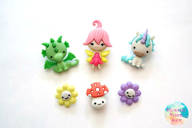 Believe In Fairies Dragon Unicorn Mushroom Flower Buttons Set