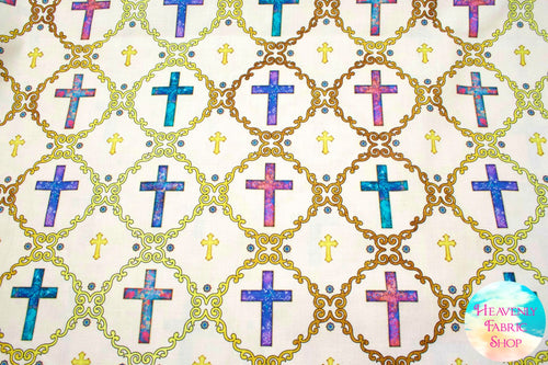 Faith Religious Crosses Light Cream Cotton Fabric