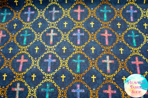 Faith Religious Crosses Navy Cotton Fabric