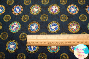 Faith Religious Stained Glass Dove Medallion Toss Navy Cotton Fabric