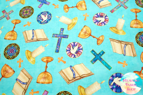 Faith Religious Toss Aqua Cotton Fabric