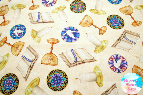 Faith Religious Toss Light Cream Cotton Fabric