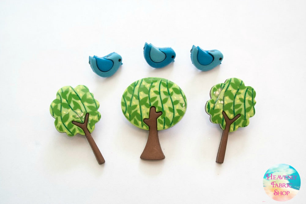 Forest Flair Nature Tree and Bluebird Buttons Set