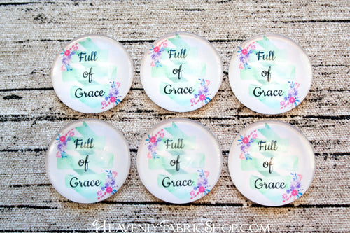 Full of Grace Floral Glass Dome Cabochons 6ct
