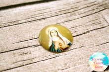 Golden Immaculate Heart of Mary Glass Dome Cabochons 6ct