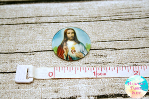 Sacred Heart Jesus Glass Dome Cabochons 6ct