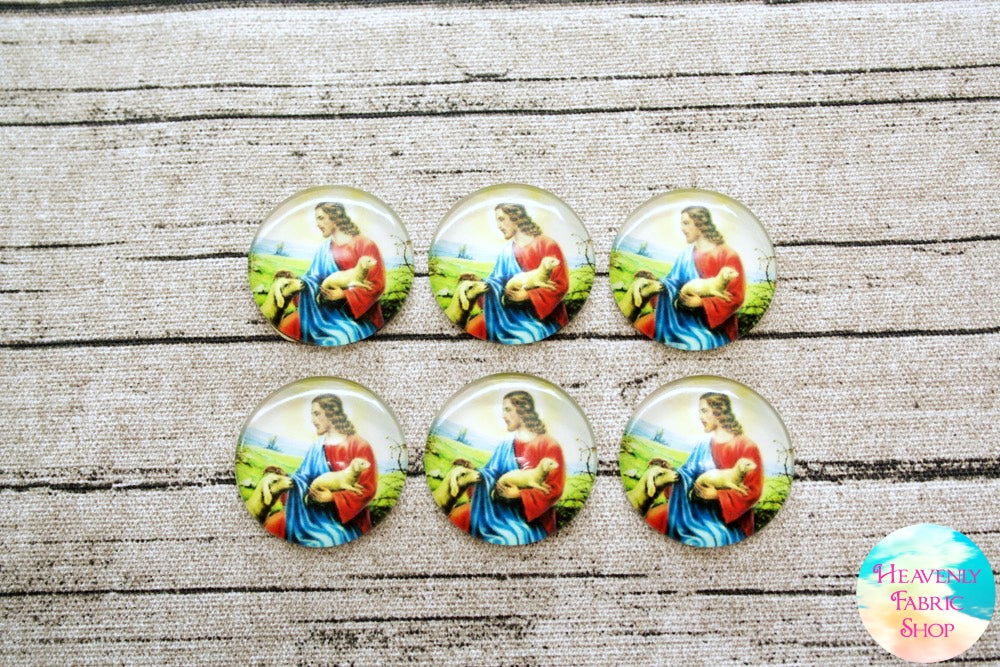 Jesus the Shepherd Lamb of God Glass Dome Cabochons 6ct
