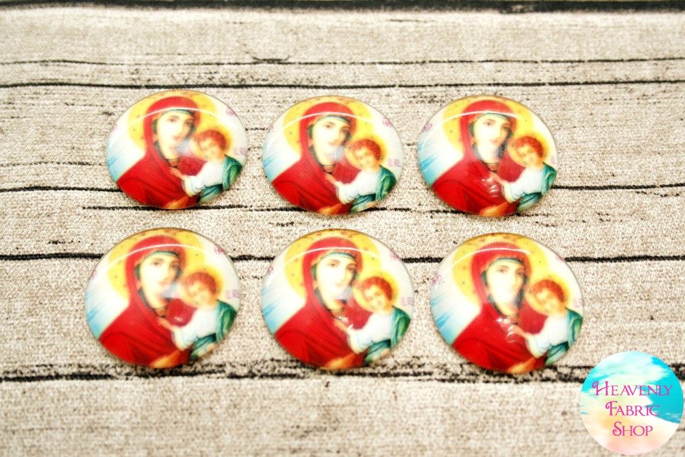 Madonna and Child Glass Dome Cabochons 6ct