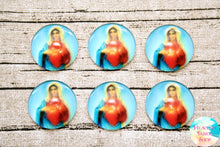 Immaculate Heart of Mary Glass Dome Cabochons 6ct