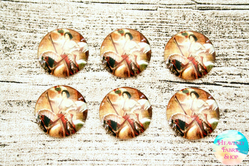 Saint Joan of Arc Glass Dome Cabochons 6ct