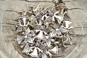 Antique Silver Metal Heart Angel Charms 30 ct