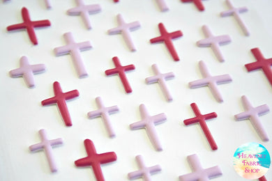 Bless Her Heart Pink Puffy Cross Stickers
