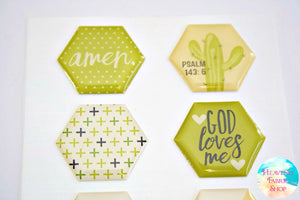 Olive You Pray Big God Loves Me Dimensional Epoxy Stickers