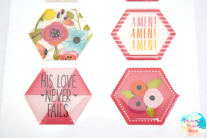 One In A Melon Love Never Fails Dimensional Epoxy Stickers