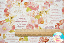 In The Beginning Believe Floral Psalms & Scripture Cotton Fabric