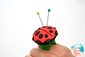 Silicone Lady Bug Pincushion Ring