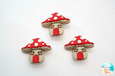 Fairy Woodland Mushroom House Buttons Set