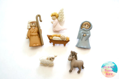 Nativity Christmas Buttons Set