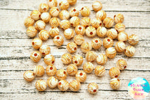 Acrylic Cream and Yellow Gold Our Lady of Guadalupe Round Beads 100 ct