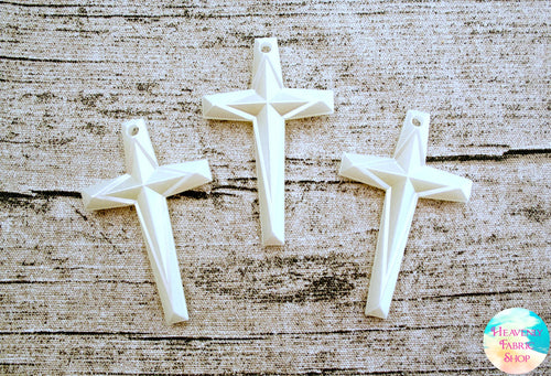 Large Pearlized Acrylic Cross Pendant Beads Set of 3
