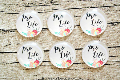 Pro Life Floral Glass Dome Cabochons 6ct
