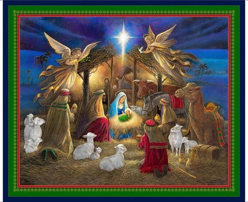 Holy Night Nativity Cotton Fabric Panel