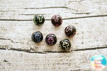 Acrylic Black Neon Cross Round Beads 100 ct