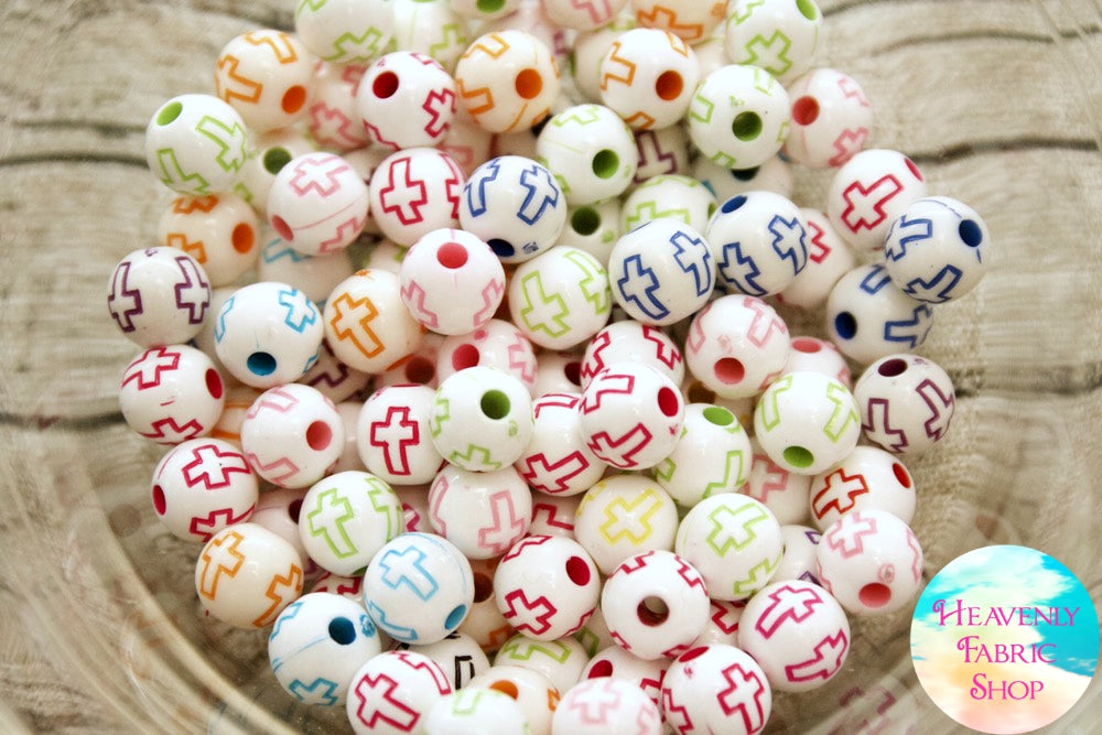 Acrylic White Multi Color Cross Round Beads 100 ct