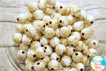 Acrylic White and Gold Our Lady of Guadalupe Round Beads 100 ct