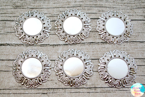 Vintage Style Silver Flower Cabochon Medallion Settings 6 ct set