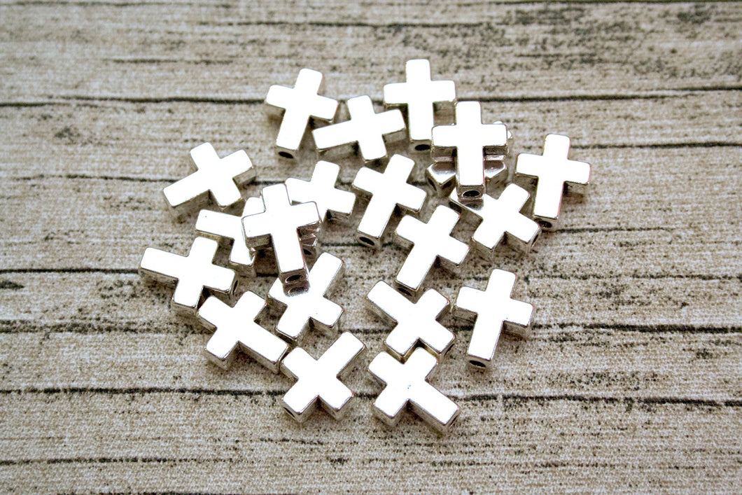 Silver Metal Cross Beads 20 ct