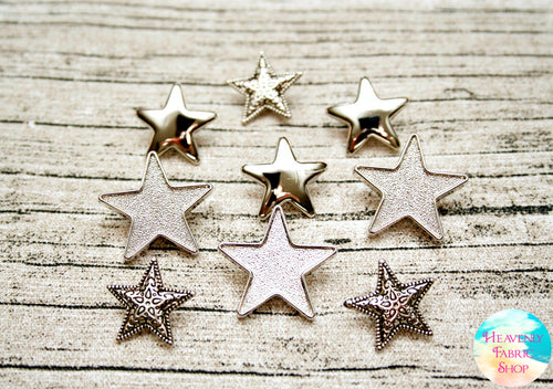 Metallic Silver Star Buttons Set