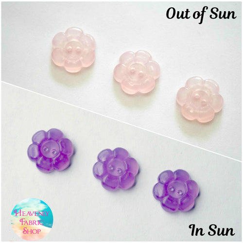 UV Solar Color Change Pink to Purple Flower Buttons Set