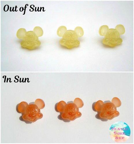 UV Solar Color Change Yellow to Orange Mickey-style Mouse Buttons Set