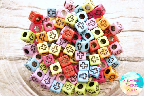 Acrylic Multi Color Cross Square Beads 100 ct